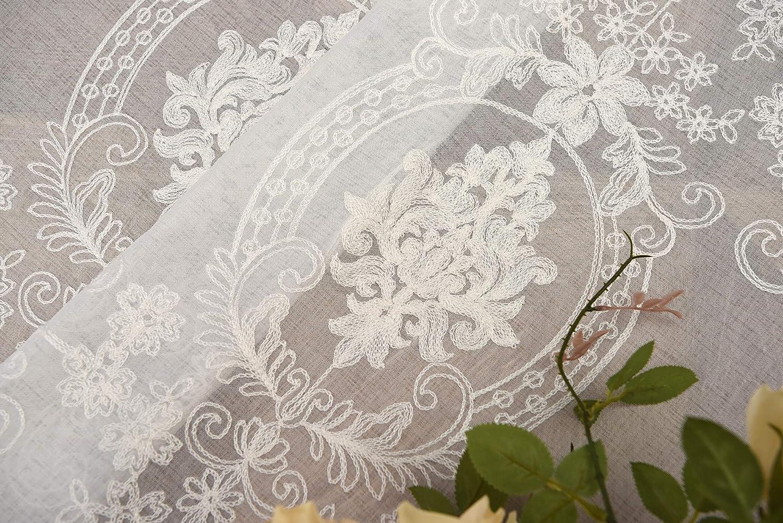 Qucover Rideaux Voilage,Demi Rideau,Panneaux Voile Occultants Souple Tulle pour Fen/être Salon,Fen/être Voilages en Polyester,120cm L x 60cm H Transparent