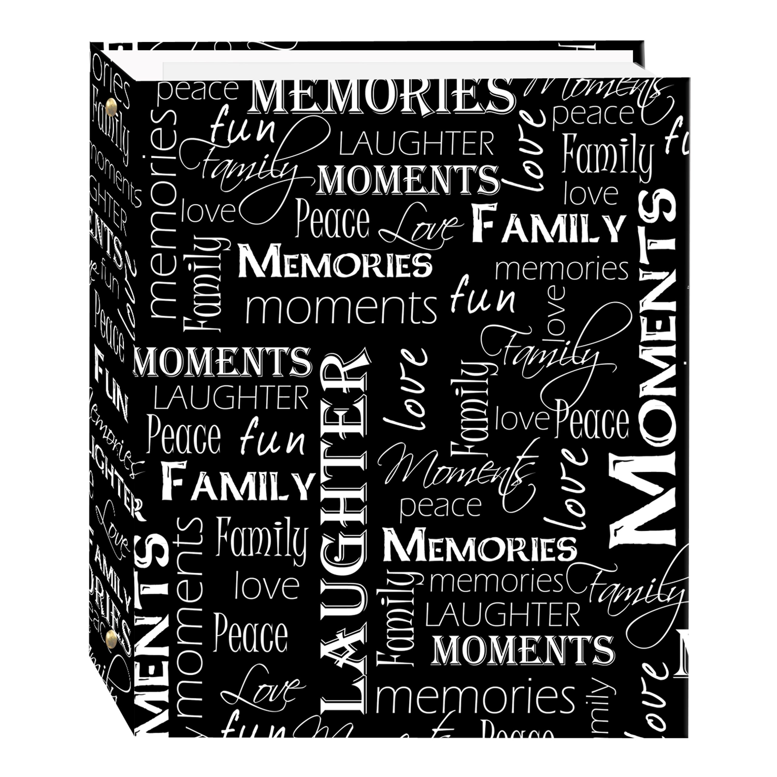 Magnetic Self-Stick 3-Ring Photo Album 100 Pages (50 Sheets), Black & White Words Design by Pioneer Photo Albums