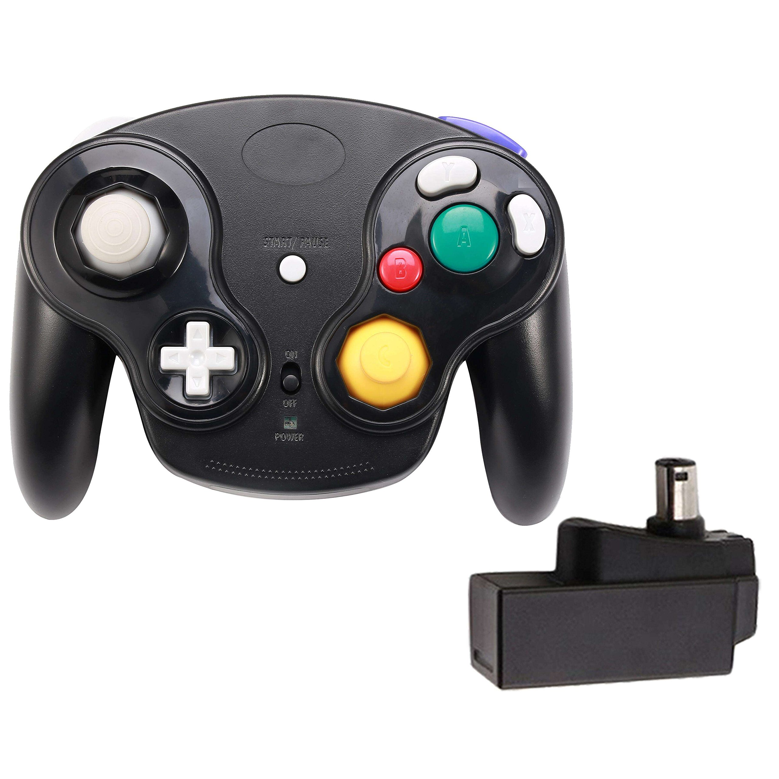 Poulep 1 Packs Classic 2.4G Wireless Controller Upgraded Gamepad with Receiver Adapter for Nintendo Wii U Gamecube NGC GC (Black2)