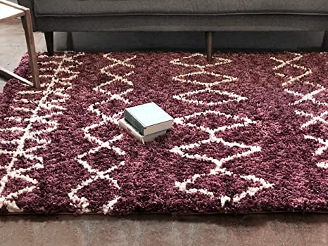 Well Woven NO-10-7 Nomad Parley Modern Moroccan Trellis Maroon Soft Fluffly Shag Area Rug 710