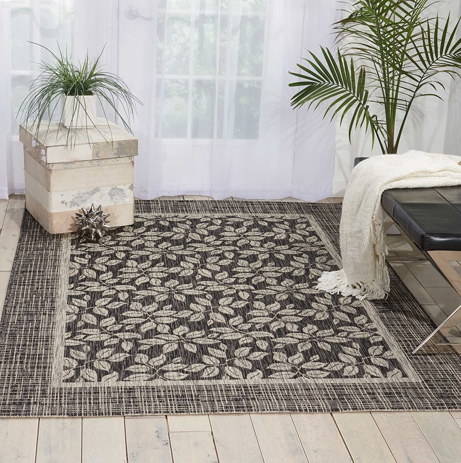 Nourison Garden Party Charcoal Indoor/Outdoor Area Rug 7 Feet 10 Inches by 10 Feet 6 Inches, 7'10