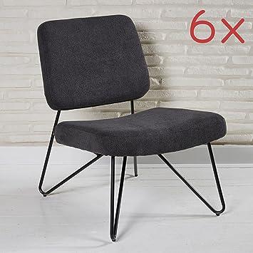 6er Set Bequeme Stuhle Im Retro Look Aus Stoff Fur Ihren Wohnbereich