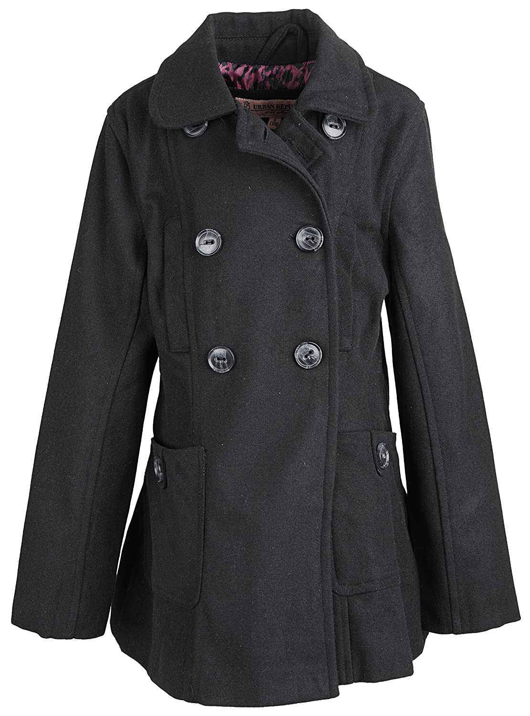 1c1dd6b2 Amazon.com: Urban Republic Little Girls Classic Wool Look Double Breasted Winter  Pea Coat - Black (Size 4): Clothing