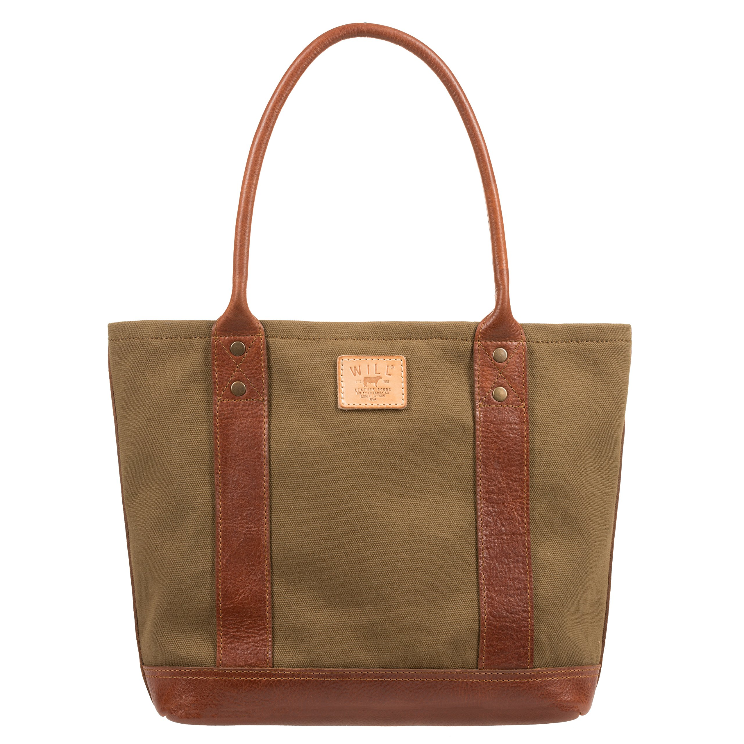 Will Leather Goods Women's Medium Signature Canvas Leather Tote, Tobacco & Saddle Brown