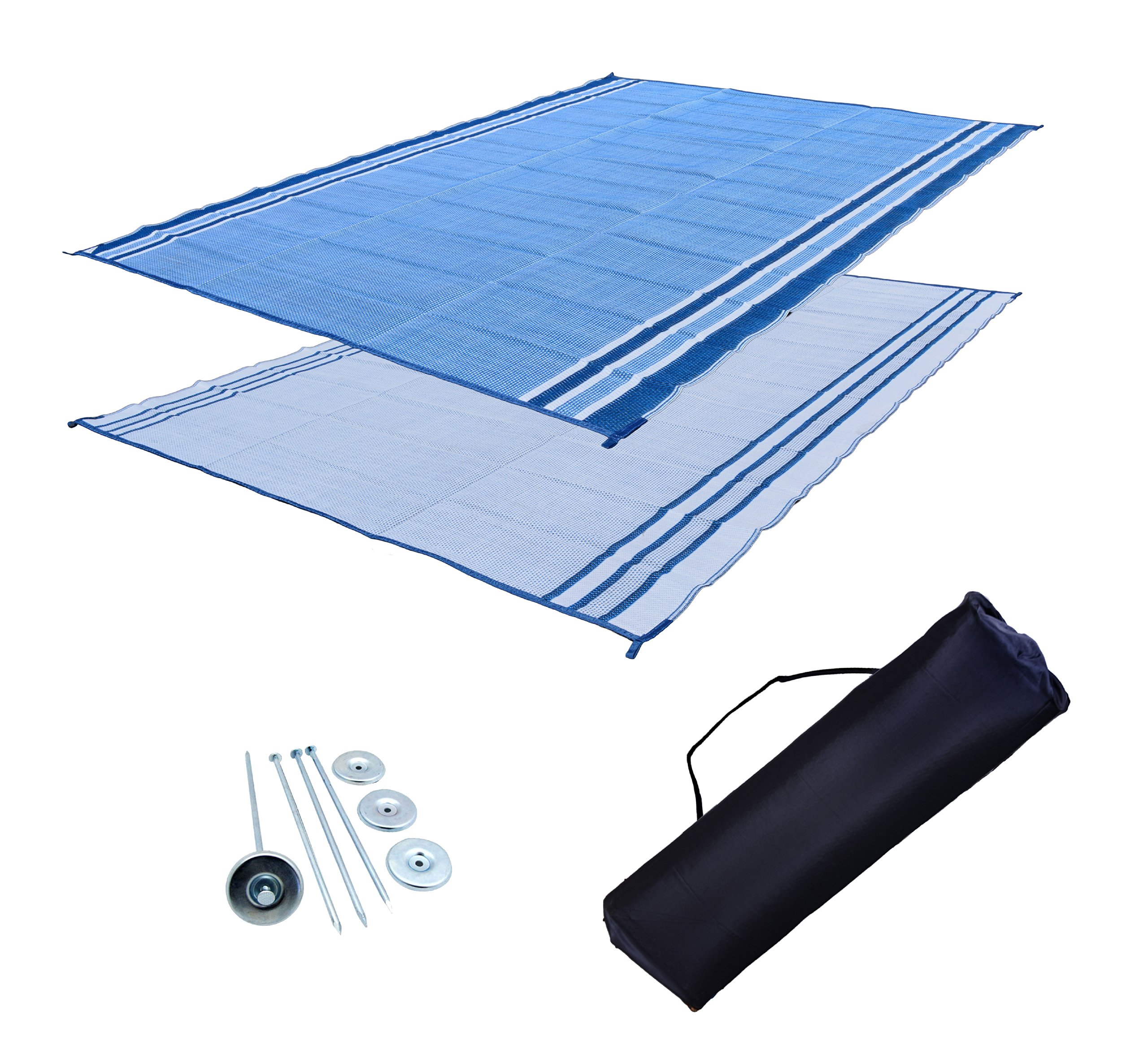 RV Patio Mat: 9x18 Extra-Wide Ocean Blue RV Mat by EZ Travel Mats