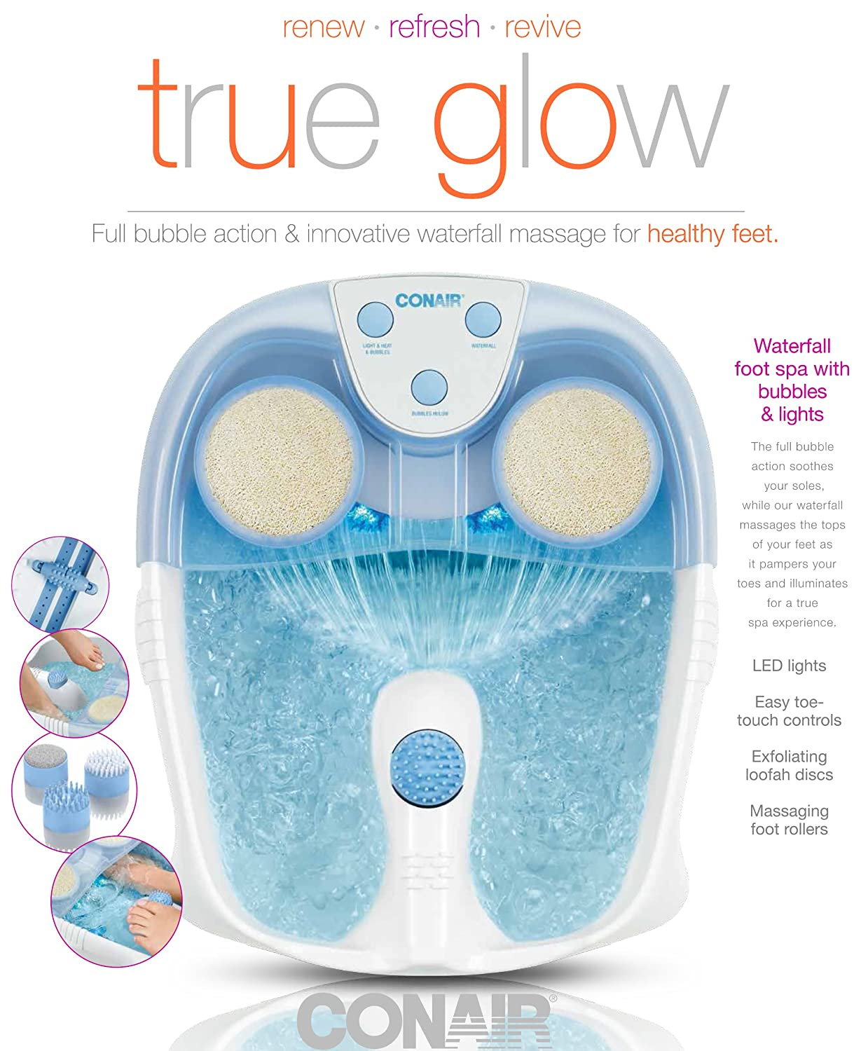 Amazon.com: True Glow by Conair Foot Spa with Bubbles and Lights ...