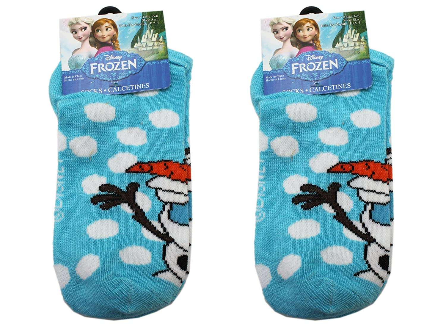Amazon.com: 2 Pair Light Blue Disney Frozen Olaf Kids Socks (Size 6-8): Clothing