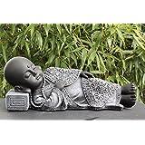 Steinfigur Buddha liegend - Schiefergrau, Garten, Deko, Figur, Stein, Statue, Frostsicher