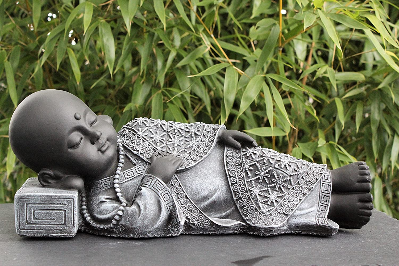 steinfigur buddha liegend schiefergrau garten deko figur stein statue - Buddha Deko Wohnzimmer