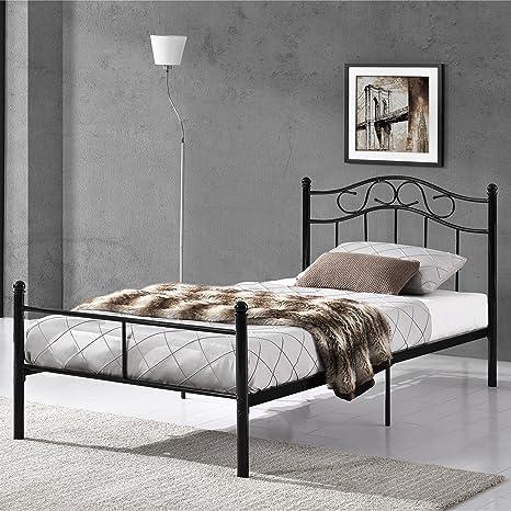 En Casa Metallbett 120x200 Schwarz Mit Lattenrost Jugendbett Bett Metall Bettgestell Amazon De Kuche Haushalt