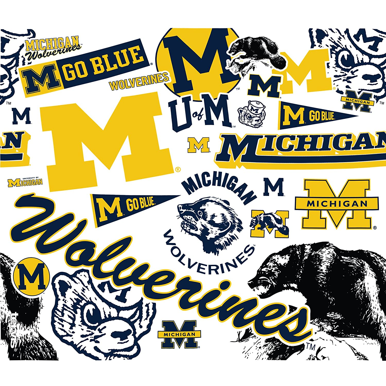 Tervis 1256308 NCAA Michigan Wolverines All Over Water Bottle with Lid Clear 24 oz