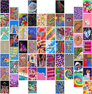 Aesthetic Room Decor for Bedroom,60PCS Posters for Room Aesthetic,Wall Collage Kit Aesthetic Pictures,Aesthetic Room Decor for Teen Girls,Aesthetic Wall Decor for Bedroom Livingroom Dorm (A-Trippy)