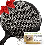 Dapper&Doll Chainmail Scrubber for Cast Iron Pans - Works Great Easy to Clean Removes Stuck on Food - Double Strength Cast Iron Skillet Cleaner Scraper