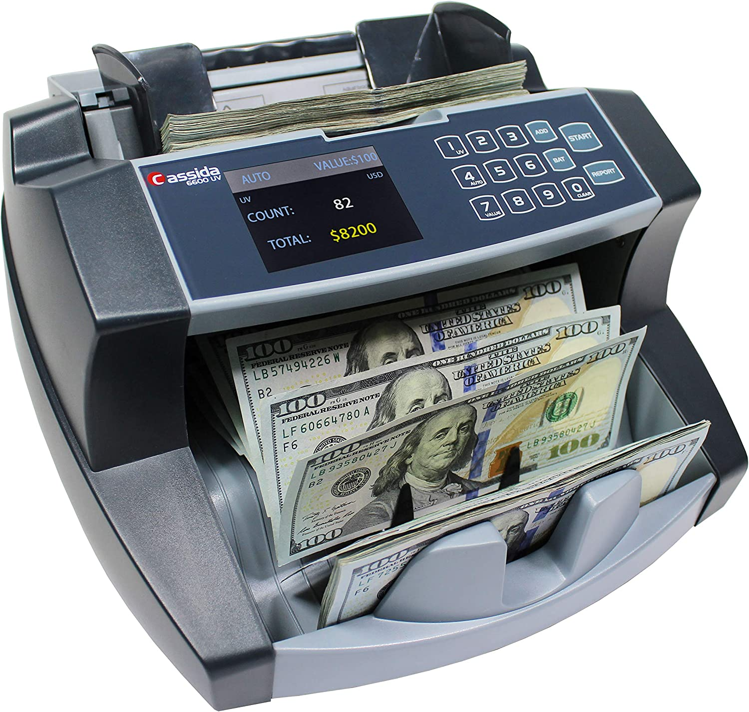 Cassida 30 Business Grade Money Counting Machine with Ultraviolet (UV)  Counterfeit Detection, LCD Display, Multi-Color (30 Counterfeit Detection)