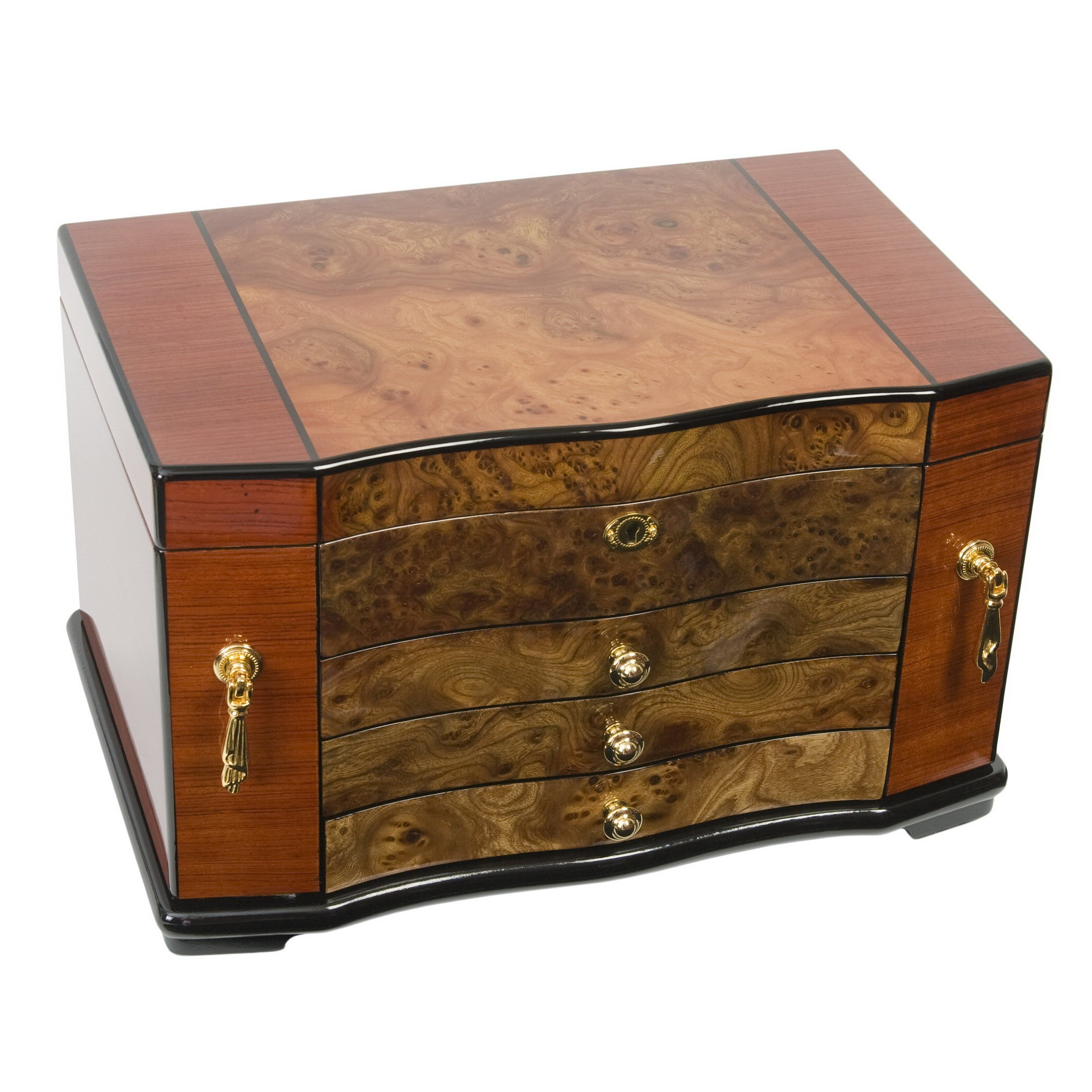 Fully Locking Jewelry Box in African Bubing with Italian Elm Burl Wood Inlay.