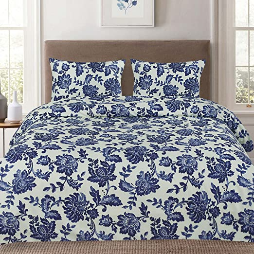 Tuscany Navy Floral Pattern 4-Piece 1800 Thread Count Sheet Set