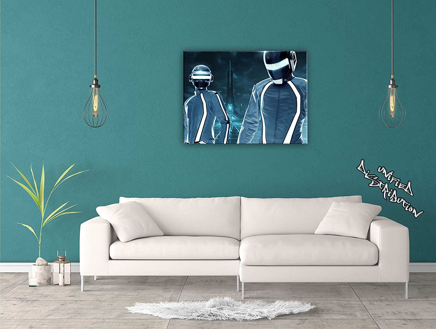 Unified Distribution Daft Daft Daft Punk Tron City - 120x80 cm - Bilder & Kunstdrucke fertig auf Leinwand aufgespannt und in erstklassiger Druckqualität 1233ef