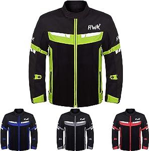 HWK Mesh Motorcycle Jacket Riding Air Motorbike Jacket Biker CE Armored Breathable (Medium, Green)