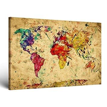 SENSATIONSPREIS Hochwertiges Leinwandbild Weltkarte Retro In Vintage Deko  Abstrakt   Premium Leinwanddruck 30 X 20 Cm Einteilig 2201 A: Amazon.de:  Küche U0026 ...