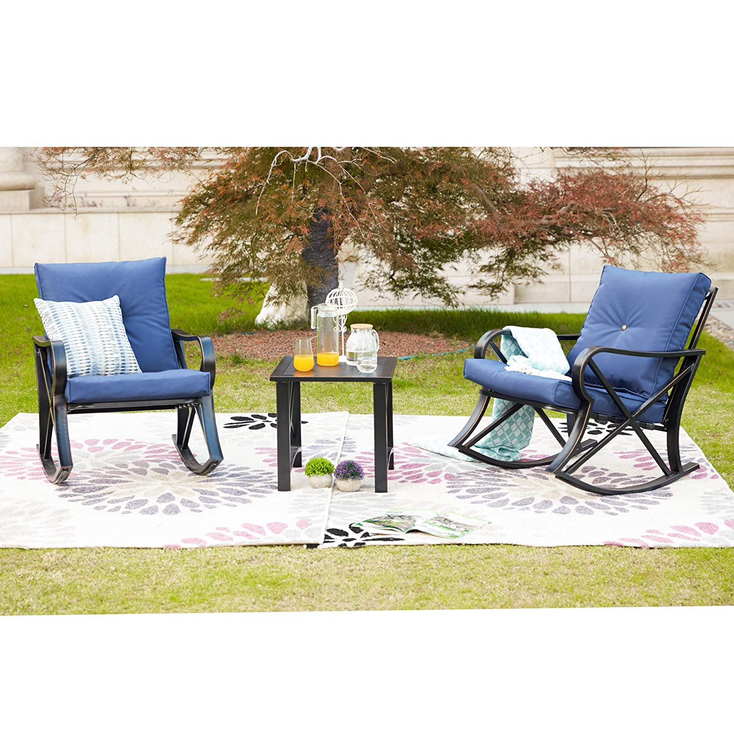Pleasing Lokatse Home 3 Piece Patio Outdoor Rocking Chair Bistro Sets With Coffee Table Blue Cushions Ibusinesslaw Wood Chair Design Ideas Ibusinesslaworg