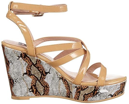 Giudecca Manuk JYS1357 - Zapatos con correa de tobillo de cuero para mujer, color beige, talla 37