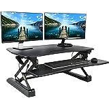 "VIVO Black Deluxe Height Adjustable Standing Desk 36"" Tabletop Monitor Sit to Stand Laptop Riser Removable Keyboard Tray Platform Converter (DESK-V000DB)"