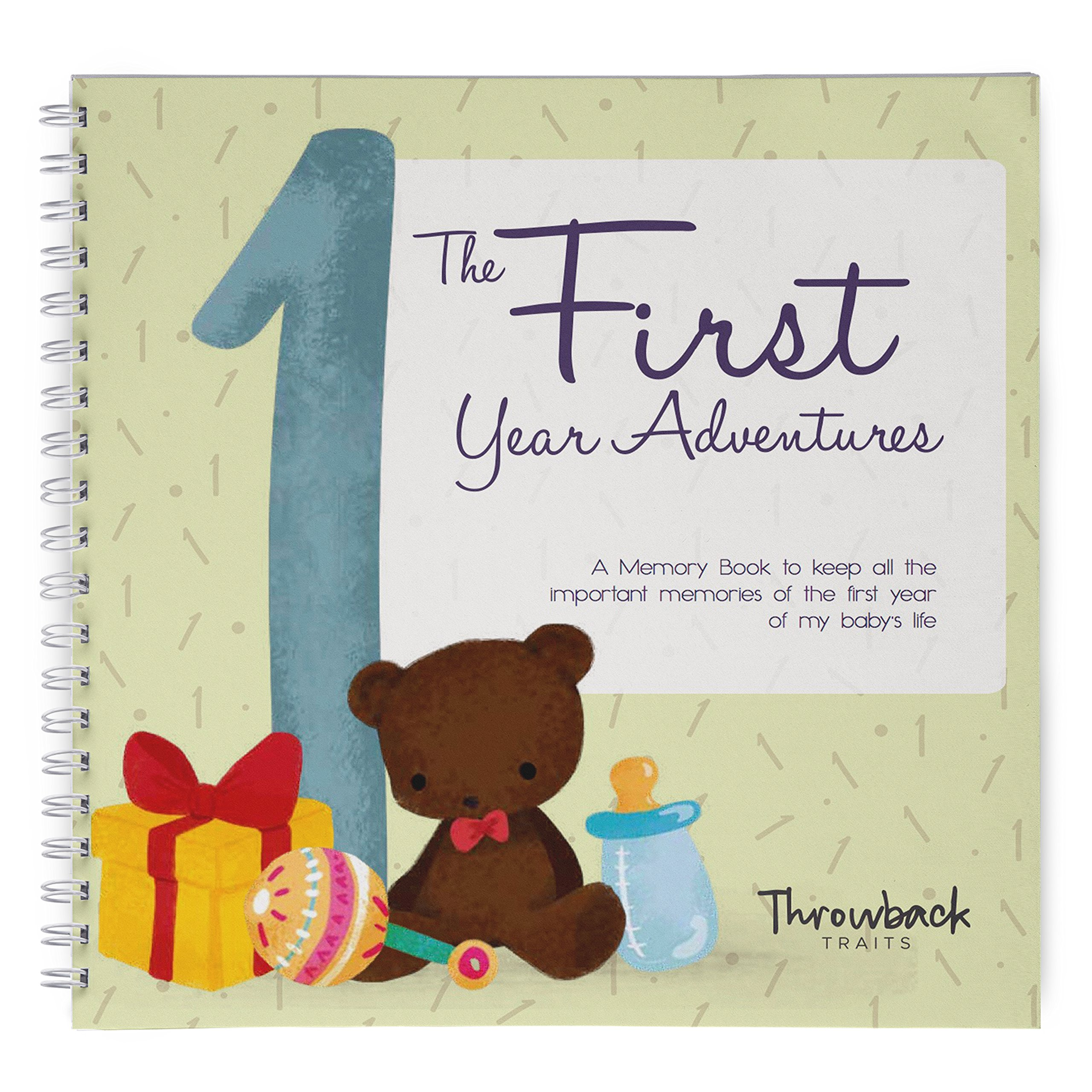 First Year Baby Memory Book, Easy to Use Keepsake Scrapbook, My First Year Adventures. Great Pregnancy or Baby Shower Gift with Space for Photo and Milestones