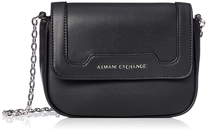 Armani Exchange women s shoulder bag clutch bag in black leather with steel  logo. Inside pockets 087249d6aa1dc