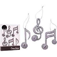 "Christmas Traditions 4"" Silver Glittered Musical Notes with Bell Ornaments Hanging Tree Decorations (Set of 6)"