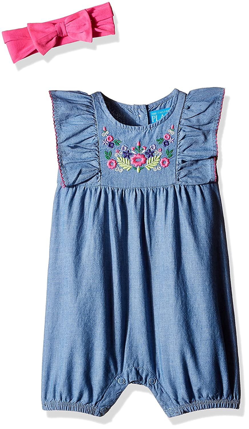 915007a31 The Children's Place Baby Girls' Short Flutter Sleeve Floral Stitch  Chambray Romper and Clothing Set (2060887_Chambray_12-18M): Amazon.in:  Clothing & ...