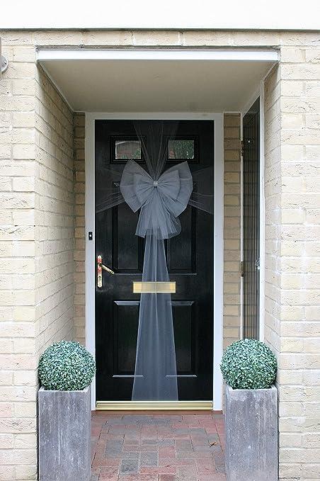 Christmas Door Bow Deluxe - Silver with Diamante Centre & Christmas Door Bow Deluxe - Silver with Diamante Centre: Amazon.co ...