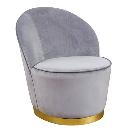Tov Furniture TOV S3821 The Julia Collection Midcentury Modern Velvet  Upholstered Barrel Chair With Gold
