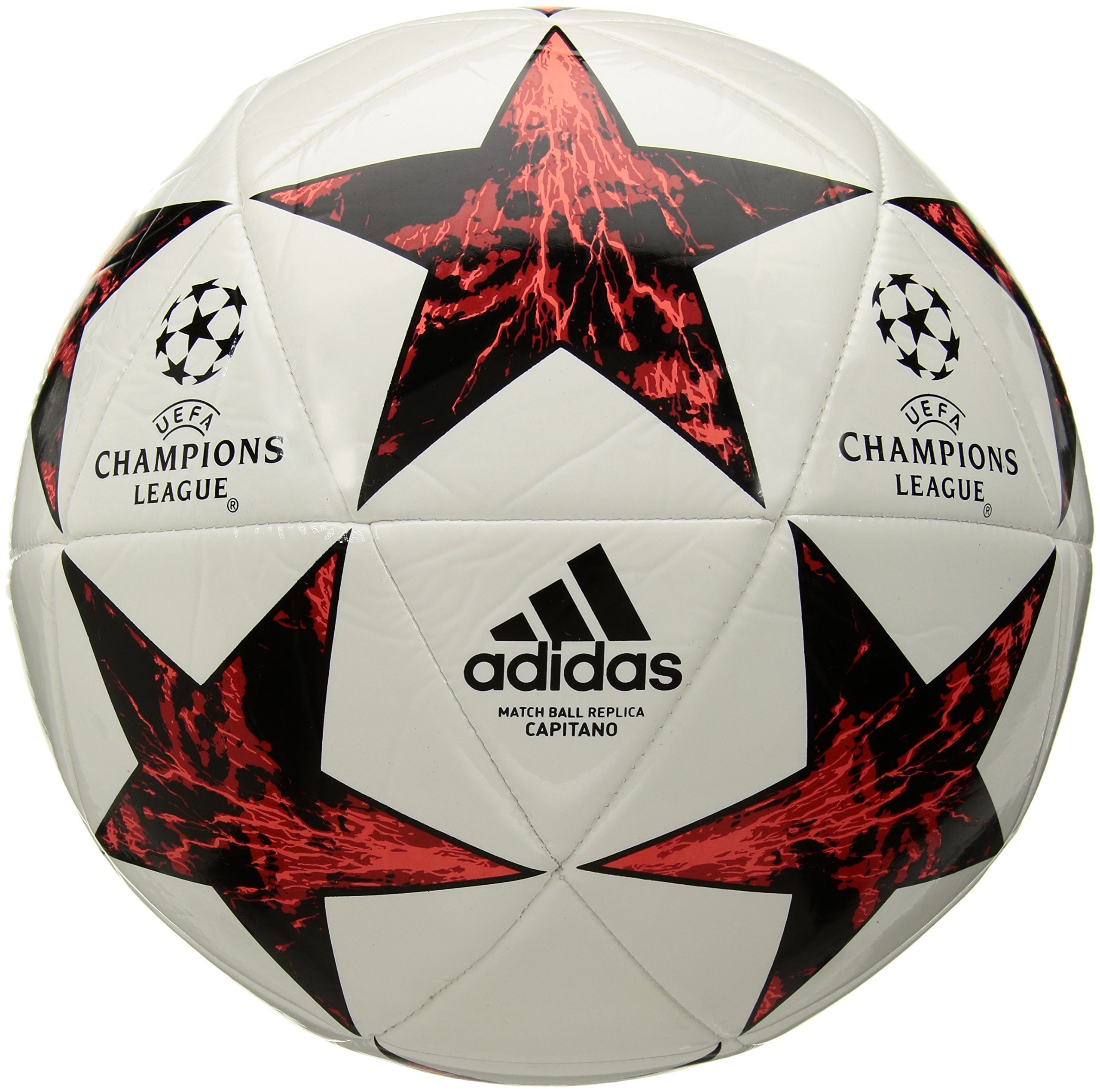 053b11f24 Galleon - Adidas Performance Champions League Finale Capitano Soccer Ball,  White/Black/Victory Red/Solar Red/Pink, Size 5