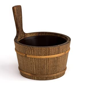 Sauna bucket - pine, tarred, 4 litres - Plastic inner bucket (Pinetta)