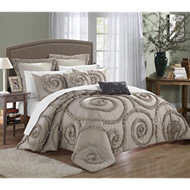 Chic Home Rosalia Ruffled Etched 7 Piece Embroidery Comforter Set, Queen, Taupe