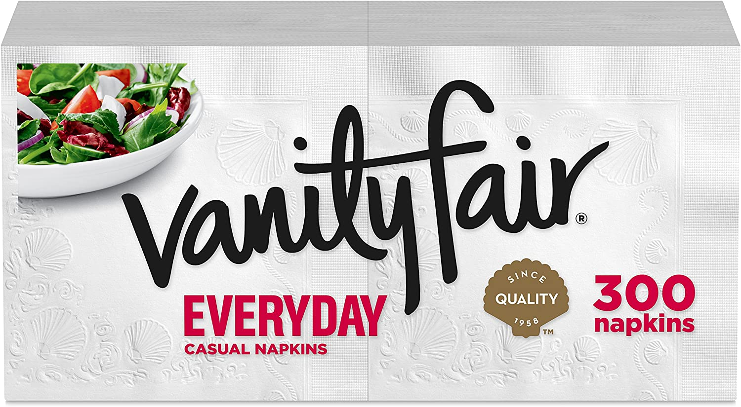 Vanity Fair Everyday Casual Paper Napkins, Classic White, 300 Count