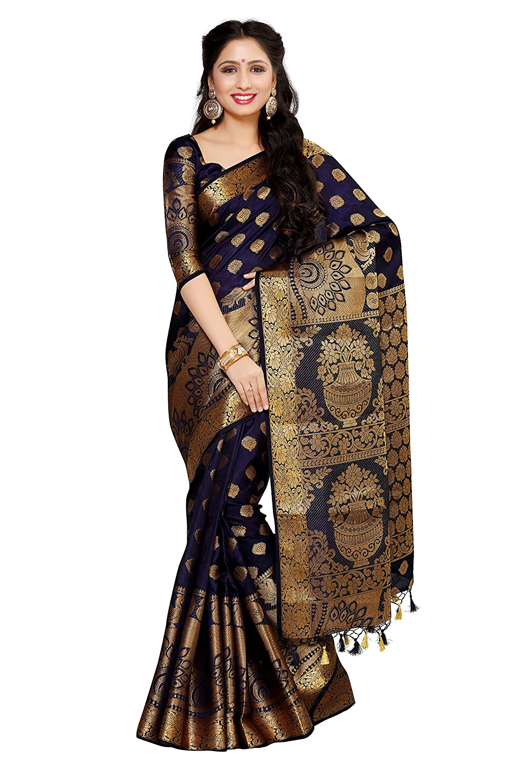 Navy Blue Color Kanchipuram Silk Saree with Unstitched Blouse Piece Collection
