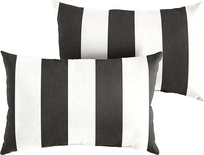 1101design Sunbrella Cabana Classic Decorative Indoor Outdoor Lumbar Throw Pillows Perfect For Patio Décor Black White Stripe 12 X24 Set Of 2 Garden Outdoor Amazon Com