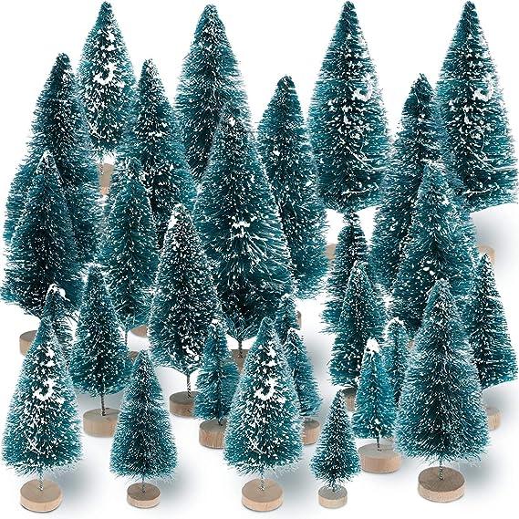 Aigoo - Juego de 45 Mini árboles de Navidad de sisal y Madera de ...