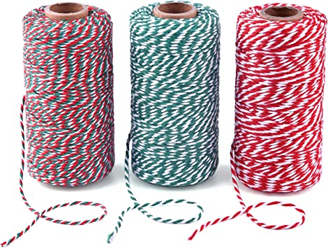 984 Feet Zealor 3 Rolls Christmas Twine Cotton String Rope Cord for Gift Wrapping Arts Crafts