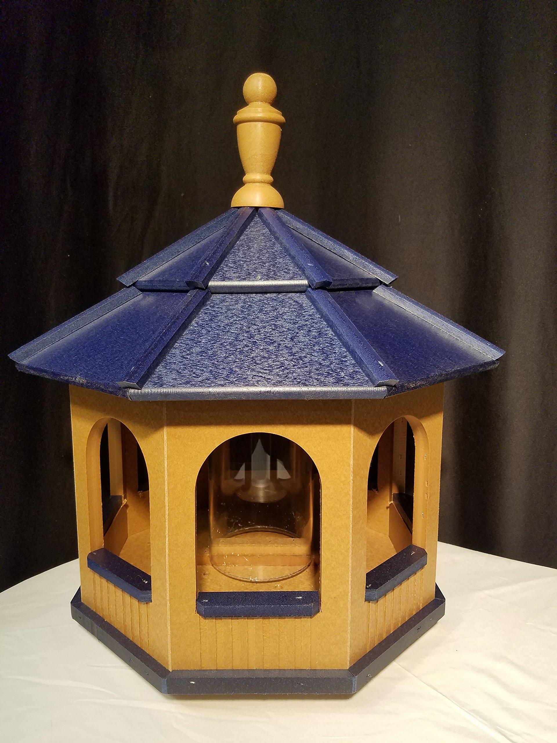 Vinyl Gazebo Bird Feeder Amish Homemade Handmade Handcrafted Cedar & Blue med