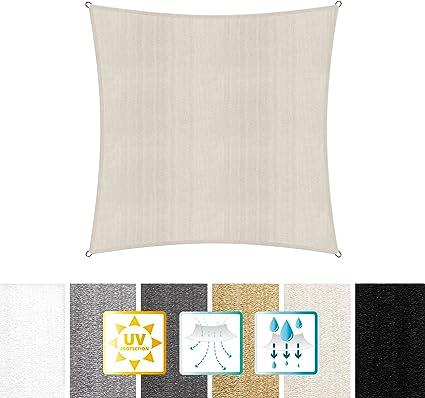 Imagen deLumaland toldo Vela de Sombra 100% Polietileno de Alta Densidad Filtro UV Incl Cuerdas Nylon 3x3 Crema