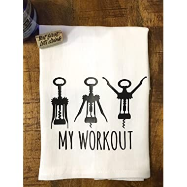 Wine Kitchen Towel - Funny Workout Flour Sack Towel - Whimsical