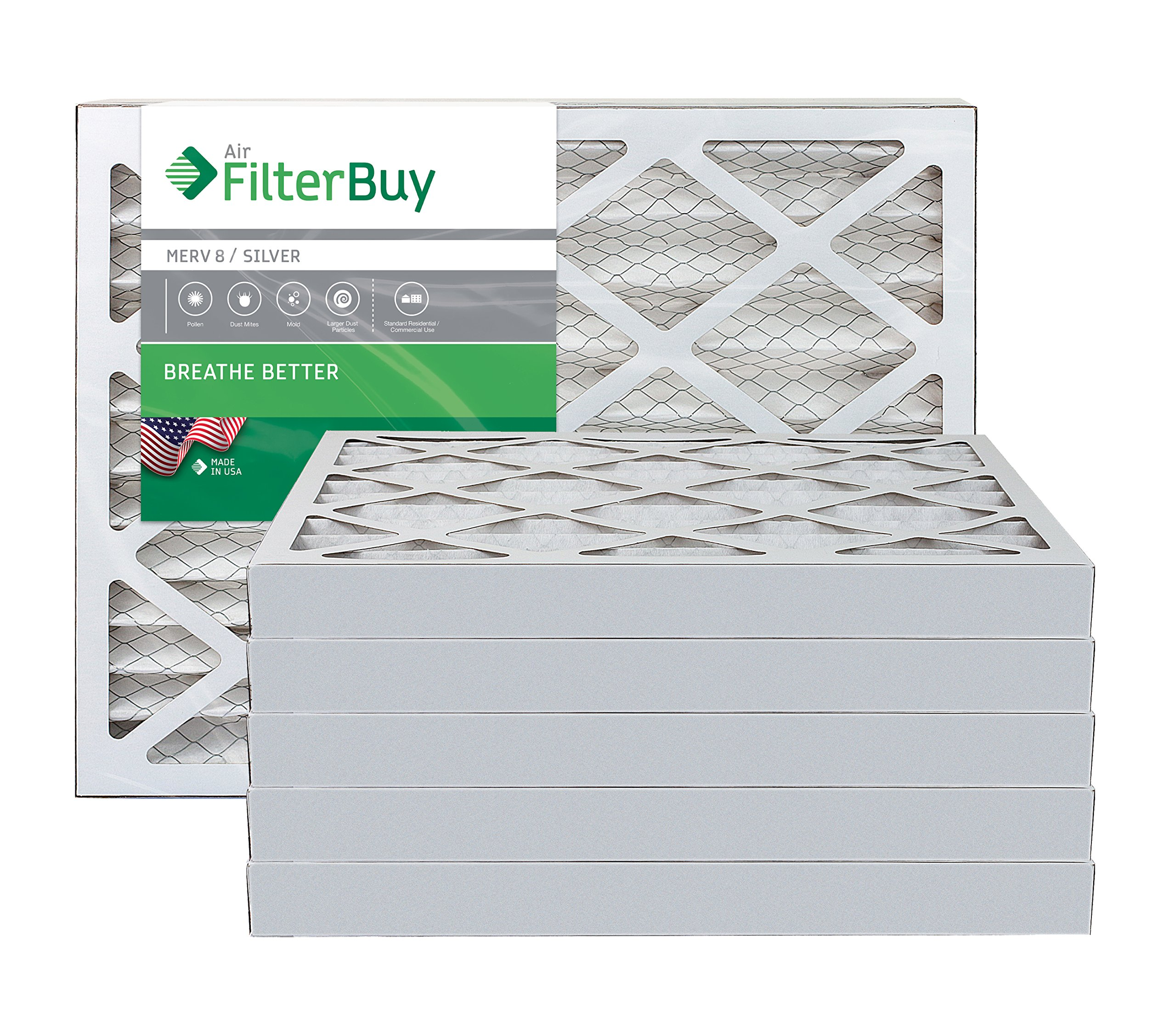 FilterBuy 12x27x2 MERV 8 Pleated AC Furnace Air Filter, (Pack of 6 Filters), 12x27x2 – Silver
