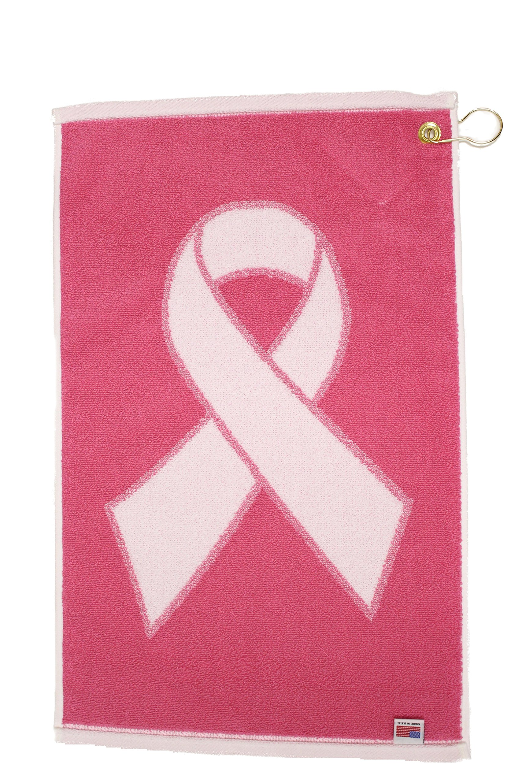 JP Lann Golf Pink Ribbon Breast Cancer Awareness Golf Towel, White/Pink, 16 x 24-Inch
