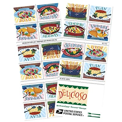 Delicioso Book of 20 USPS one-ounce rate Forever Postage Stamps Latin Food Traditional: Office Products