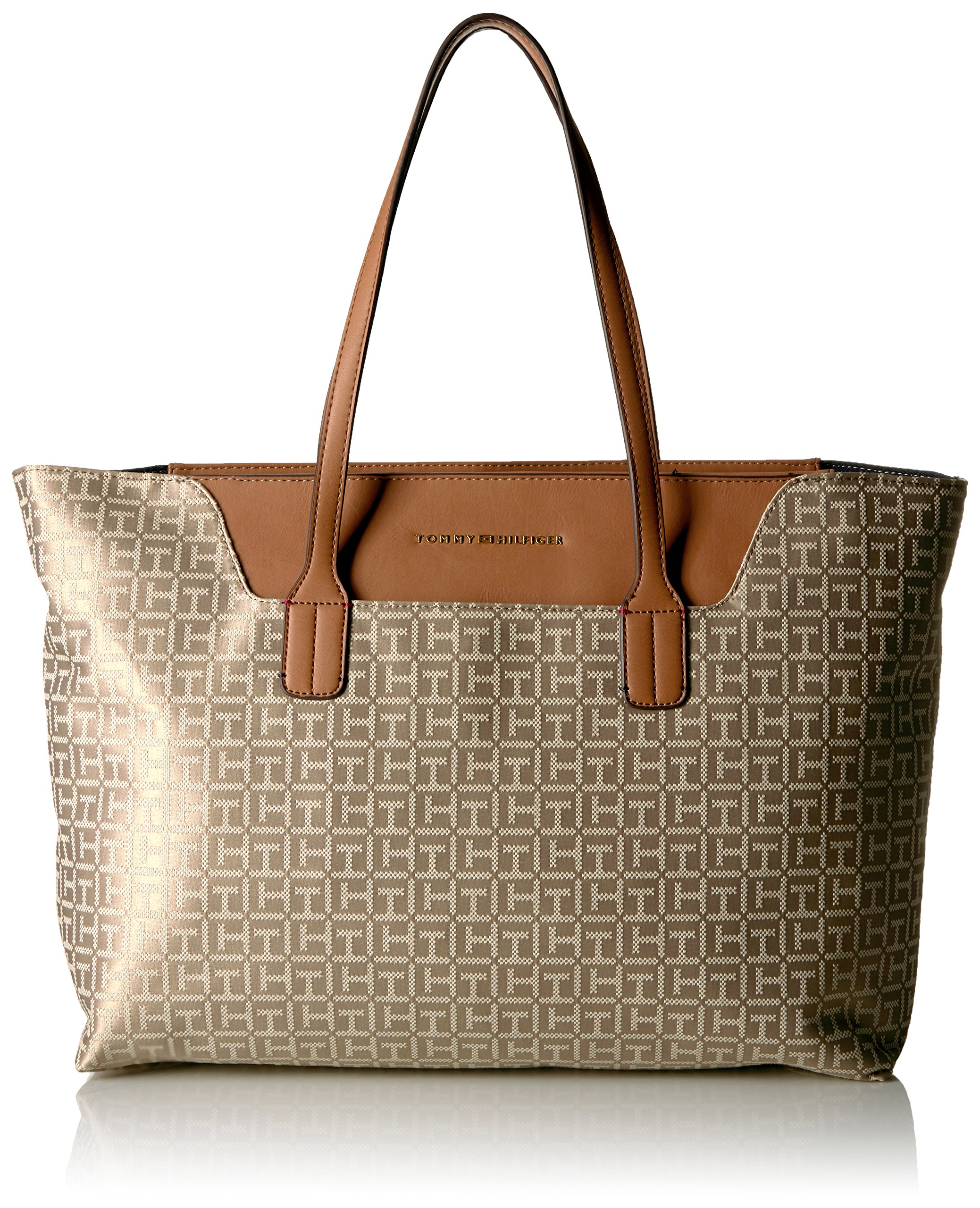 Tommy Hilfiger Tote Bag for Women Adamaria Jacquard, Khaki Tonal by Tommy Hilfiger