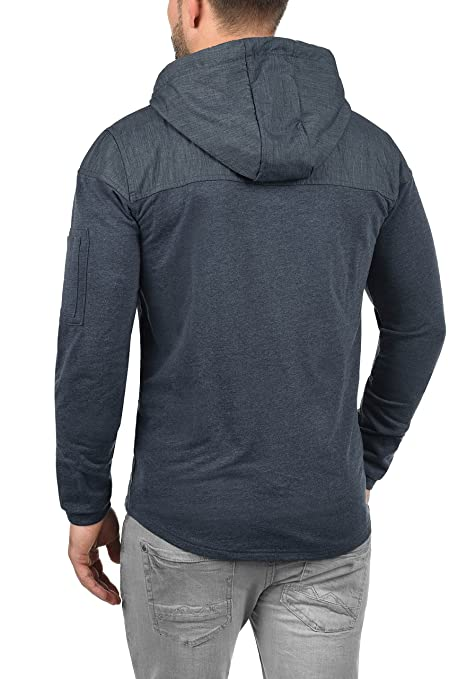 SOLID Tarias Herren Sweatjacke Kapuzen-Jacke Colour-Blocking Zip-Hood Meliert