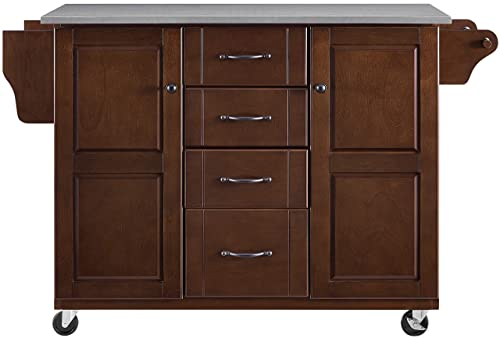 Crosley Furniture Eleanor Kitchen Cart with Stainless Steel Top, Mahogany