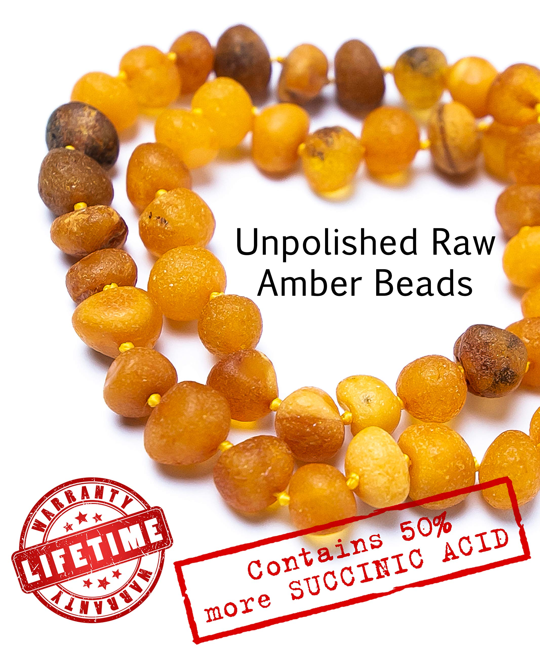 RAW Baltic Amber Teething Necklace for Babies - UNPOLISHED Organic Raw Amber Beads - Baby Teething Necklace For Boys And Girls - Anti Inflammatory Drooling And Baby Teething Relief - GIA Certified by LATITATA CRAFT